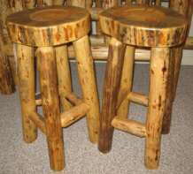 Rustic Log Barstools Handcrafted From Solid Hand Peeled