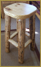 Pine Log Barstool