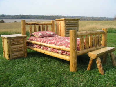 Bench Furniture on Rustic Custom Log Furniture Bedroom  Bed  Dining Table  Home Decor