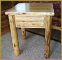 1-Drawer Nightstand/End Table: Log Front Drawer
